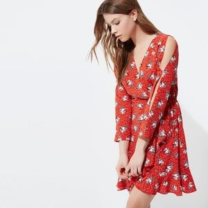 River Island red floral print frill wrap dress
